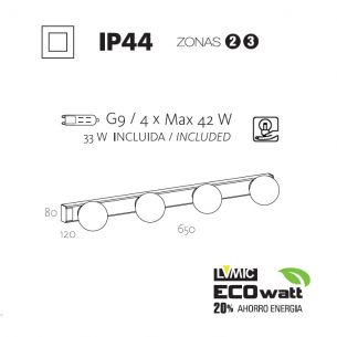 4x 33 Watt, 65,00 cm