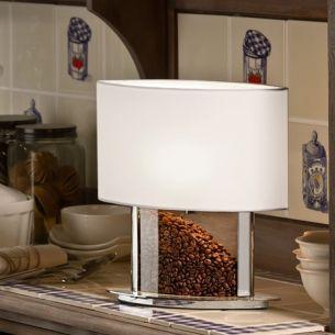 Tischleuchte mit Stoffschirm und befüllbarem Acrylfuß 32cm Höhe