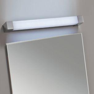 Bad-Leuchte in Chrom mit mattem Kunststoffglas, in zwei Längen wählbar