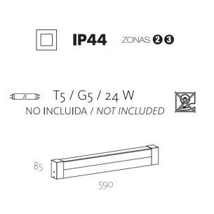 1x 24 Watt, 59,00 cm