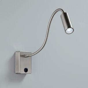 LED-Wandleuchte mit Flexarm für punktgenaues Ausleuchten,1 x Watt LED 2,5 Watt,  in Nickel matt oder Weiß lieferbar