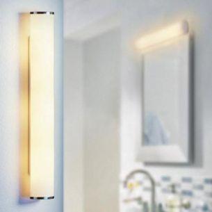 Hochfrequenz Sensor-Wandleuchten mit Opalglas und verchromten Metallkappen - zwei Größenausführungen