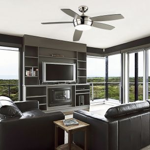 deckenventilator mit licht in wei oder nickel w hlbar. Black Bedroom Furniture Sets. Home Design Ideas