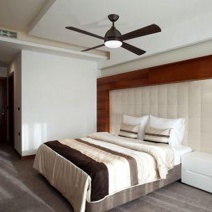 Deckenventilator mit Licht inklusive Fernbedienung, in Weiß, Altmessing, Maron oder Nickel wählbar