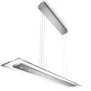 Moderne LED-Pendelleuchte - 12-flammig - dimmbar - Klarglas und Stahl gebürstet gebürstet, Glas, klar