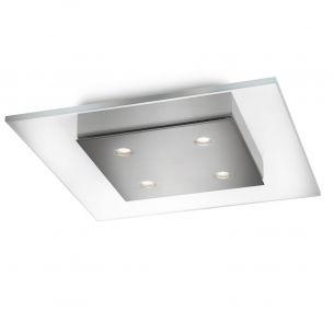 Moderne LED-Deckenleuchte - 4-flammig - dimmbar - Klarglas und Stahl gebürstet gebürstet, Glas, klar