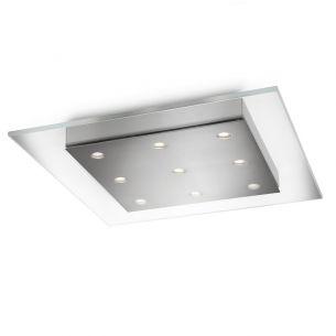 Moderne LED-Deckenleuchte - 9-flammig - dimmbar - Klarglas und Stahl gebürstet gebürstet, Glas, klar