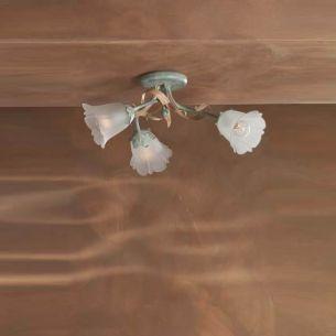 Deckenleuchte im florentinerstil in Pastellblau und Rosa dreiflammig