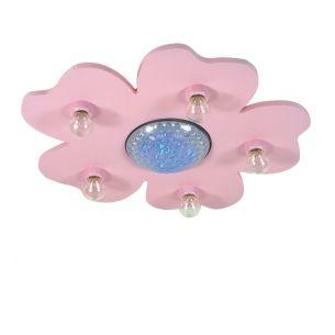 LED-Deckenleuchte Happy-Flower in Rosa mit Farbwechsel und Zauberstab