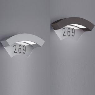 LED-Hausnummern-Wandleuchte mit 1x5W SMD-LED mit warmweißem Licht, 3000K, IP54  in zwei Farben wählbar
