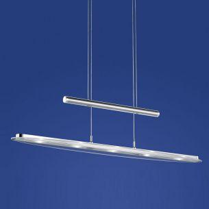 LED-Zugpendelleuchte in Nickel-matt mit Chrom abgesetzt 5x 6,7W LED 2.375 Lumen 3000 Kelvin