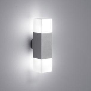 LED-Wandleuchte Höhe 33cm mit E14 LED-Leuchtmittel, 2x4Watt warmweißes Licht, 3000K, IP44 in Titan titan