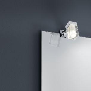 LED Bad-Spiegelklemmleuchte mit 3Watt COB-LED, IP44 in Chrom und Glas, als 2er Set oder einzeln wählbar