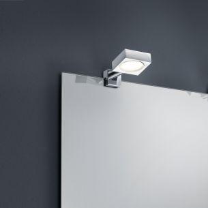 LED Bad-Spiegelklemmleuchte mit 4Watt COB-LED, IP44 in Chrom und Glas, als 2er Set oder einzeln wählbar