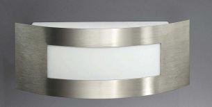 Flache, abgerundete Aussenwandleuchte aus Edelstahl mit Kunststoffglas