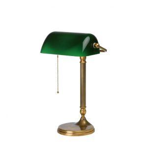 Bankerslamp aus Berliner Messing mit grünem Glas 42cm hoch