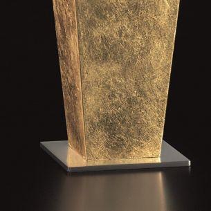 Tischleuchte mit Halogenbestückung in Blattgold / Nickel Nickel, Blattgold
