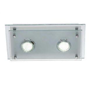 LED-Deckenleuchte mit teilsatiniertem Glas- inklusive 2 x 3Watt GU10 LED, 3000°K - warmweiß