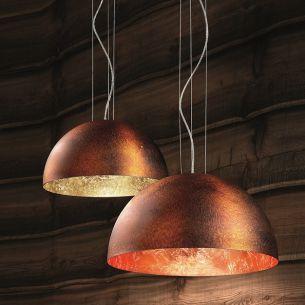 Pendelleuchte Ø 50cm Kuppel in Rost, Innenfarbe in Blattgold, Blattsilber oder Blattkupfer