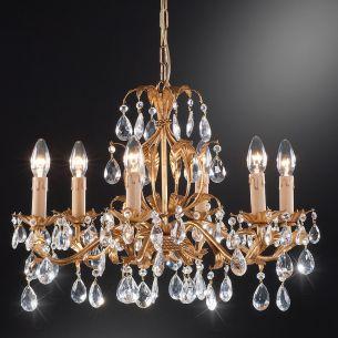 Hochwertiger Kronleuchter - Handarbeit aus Italien - 6-flammig - Blattgold - Glasbehang oder Kristallglas wählbar