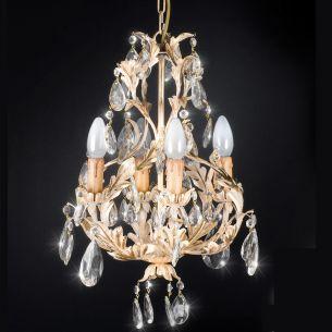 Klassischer Kronleuchter - 4-flammig - Blattgold - Weiß patiniert - Behang in Glas oder Kristallglas wählbar