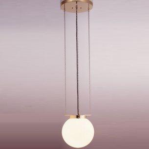 TECNOLUMEN, Bauhaus-Hängeleuchte HMB27 mit Kette aus Metall, Oberfläche vernickelt, Design Marianne Brandt  zugeschrieben1928