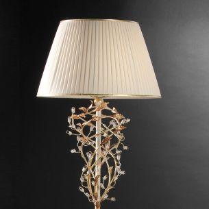 Stehleuchte im Florentiner Stil - Handgemacht in Italien - Blattgold/Weiß - Stoffschirm - Bleikristallrispen