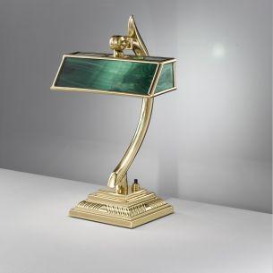 Tischleuchte in Bankerslamp-Optik Fuß in 24 Karat vergoldet oder Messing mit grünem, weißem oder beigefarbenem Glas wählbar