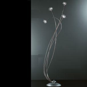 exclusive Stehleuchte mit klaren Kristallblüten und Blattfolienversilberung