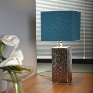 Moderne Tischleuchte mit Lampenschirm aus Stoff - Chrom - Schirmfarbe Blau (Ocean blue)