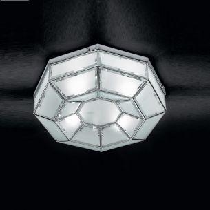 handgefertigte Deckenleuchte mit hochwertigem Kristallglas, Ø 35,5cm in Chrom silber glänzend-Kristallglas weiß 2x 40 Watt, silber, verchromt, opal/weiß