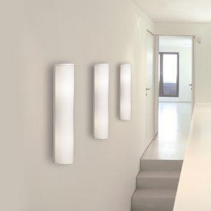 Wand- und Spiegelleuchte mit Opalglas gerillt - Halterung Aluminium weiß - Höhe 40cm oder 60cm