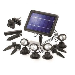LED-Solarspots in schwarz mit Solarpanel zur flexiblen Befestigung inklusive 4x 0,25W Nichia LED IP44
