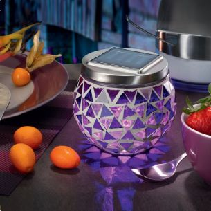 Solar-Tischleuchte mit dem tollem Lichteffekt, Leuchtdauer max. 8 Std., Mosaikfarbe lila lila