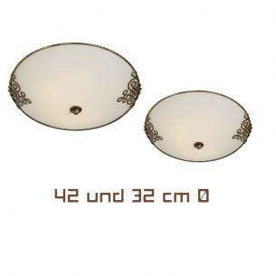 Deckenlampe im antiken Stil - Metall rostbraun - Glas Antikweiß - Deckenleuchte Durchmesser 42 cm 2x 60 Watt, 42,00 cm