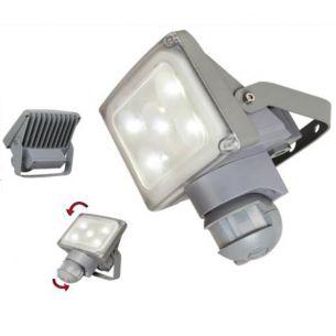 Design LED-Strahler mit Bewegungsmelder, IP54, 5x2Watt, 4100K, Lichtfarbe neutralweiß, schwenkbar