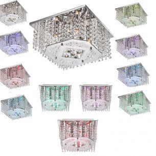 RGB-LED-Halogen Deckenleuchte mit Farbwechsel, inklusive Fernbedienung, 30x30cm, in Chrom, mit  Kristallglasbehang
