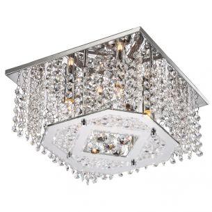 Halogen Deckenleuchte 30x30cm, in Chrom, mit Kristallglasbehang