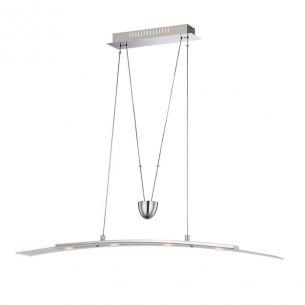 Höhenverstellbare 4-flammige LED-Pendelleuchte in Chrom mit teilsatiniertem Glas