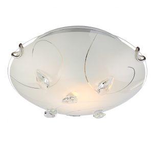 Glanzvolle 1-flammige Deckenleuchte aus Opalglas mit Musterungen und klaren Kristallen - 25cm Durchmesser