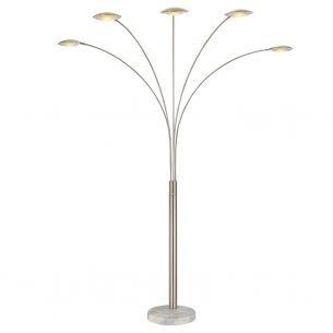 LED-Stehleuchte in Nickel matt mit weißem Marmorfuß, inklusive 5x4Watt LED, 400lm,  LED warmweiß 3000°K