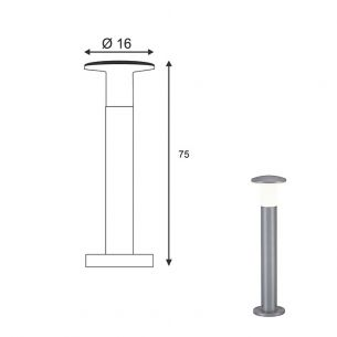solide Wegeleuchte aus Aluminium, Höhe 75cm in Silbergrau silbergrau, 75,00 cm