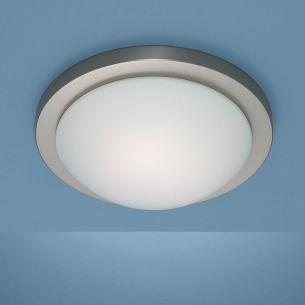 Deckenleuchte Durchmesser 30cm in Nickel-matt mit mattem Opalglas und Bajonett-Schnellverschluss