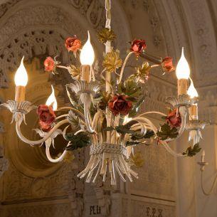 Florentiner Rosenkronleuchter - Handgefertigt in Italien - 6-flammig - Eisen lackiert - Farbe: Pastello patinato