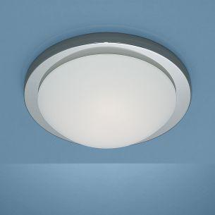Deckenleuchte Durchmesser 41cm in Chrom mit mattem Opalglas und Bajonett-Schnellverschluss 2x 18 Watt, A, mit EVG