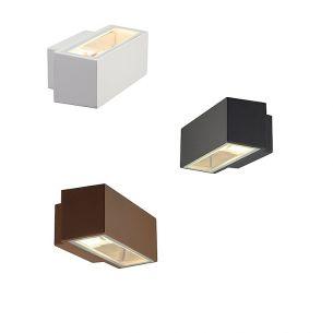 Up and Down Außenwandleuchte mit Lichtaustritt nach unten und oben, Leuchte in Rostfarben, Anthrazit oder Weiß lieferbar