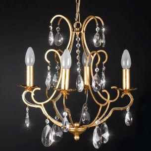 Eleganter Kronleuchter - Handgefertigt in Italien - Blattgold -  - Bleikristallbehang - 4-flammig