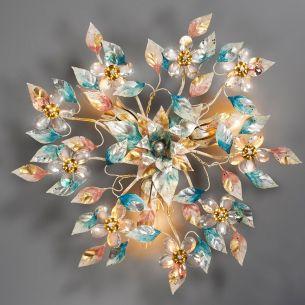 Florentiner Deckenleuchte - Handgefertigt in Italien - Farbe Harlekin - Bleikristallblüten