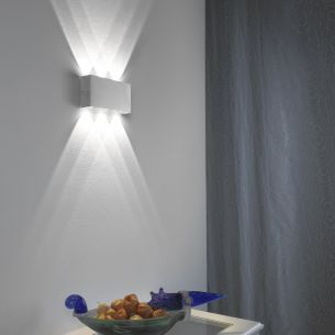 LED-Aluminium-Wandleuchte IP 44 in & outdoor 6x 1W LED 390 Lumen 6000 Kelvin rechteckig