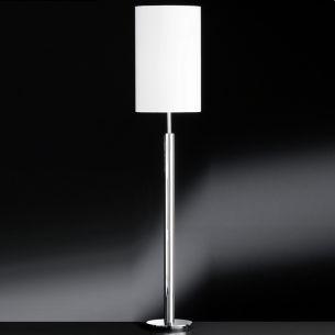 Standleuchte Schirm Ø 31cm, Kunststoff mit textiler Beschichtung in Weiß, Fuß Chrom glänzend weiß/chrom